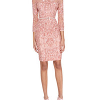 Elie Saab 3/4-Sleeve Beaded Embellished Dress, Blush
