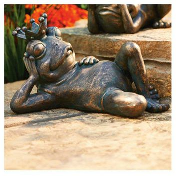 Allen Group AG59041 Frog Prince Wearing Crown Lawn Statue, Copper Effect