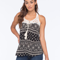 Full Tilt Boho Print Lace Inset Womens Tank Black Combo  In Sizes
