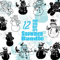 Christmas Snowmen SVG/EPS/PNG Holiday Bundle Cut FIles for Cricut/Silhouette Cameo
