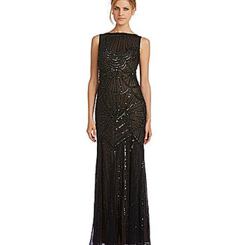 JS Collections Beaded Chiffon V-Back Mermaid Gown - Black/Nude