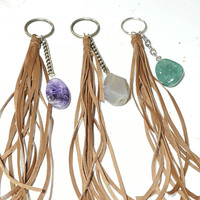 Leather Tassel Gem Stone Agate Crystal Key Ring