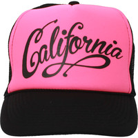 California Republic Beach Script Snapback Hat on Neon Pink