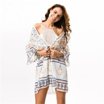 2018 New Arrival Summer Sexy Loose Bohemian Beach Cover Top Chiffon Outside Cardigan For Female