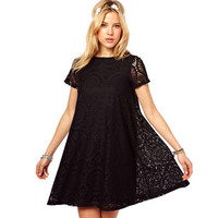 Lixmee women lace short sleeve summer simple dresses