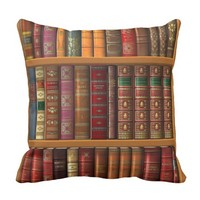 """Trompe l'oeil """"French library"""". Throw Pillow"""