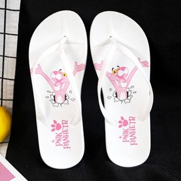 Pink Panther Women Fashion New Letter Leopard Print Household Bathroom Slippers Flip Flops Shoes White