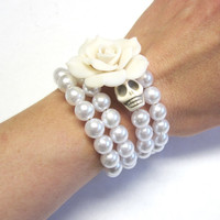 Sugar Skull Bracelet Day Of The Dead Wrap White Rose Wedding Jewelry Accessory