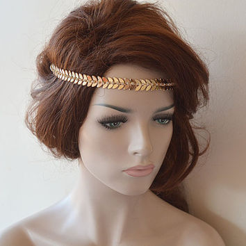 Bridal Gold Rhinestone Headband, Leaf Wedding Headband, wedding Accessories,  Bridal Accessories,  Bridal Hair Accessories, Vintage Style
