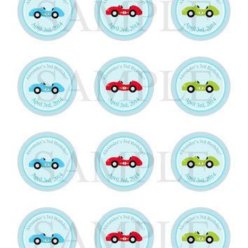 Race Car sticker, Cupcake Topper, Tags, Digital file. Car Baby Shower. Transportation baby shower