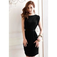 Black Pleated One Shoulder Summer Dress