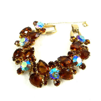 Delizza and Elster Juliana Smoke Topaz and AB Rhinestone Bracelet