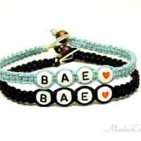 Bae Couples or Friendship Bracelets, Set of Two, Blue and Black Macrame Hemp Jewelry