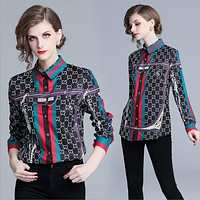 GUCCI Trending Women Stylish Print Long Sleeve Lapel Shirt Top