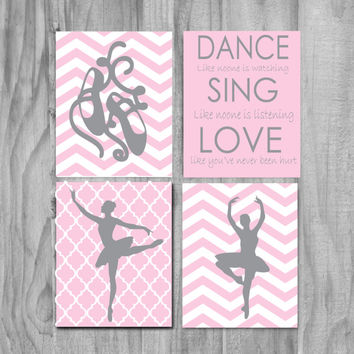 Baby girl nursery art, pink and gray nursery art, chevron nursery art, ballerina art print, Inspirational girls room set of 4