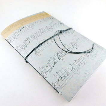 Music Paper Notebook | Handbound Staff Notebook | Cute Clef Cover Notebook | Music Writing Journal | Music Notebook | Handmade Blue Notebook