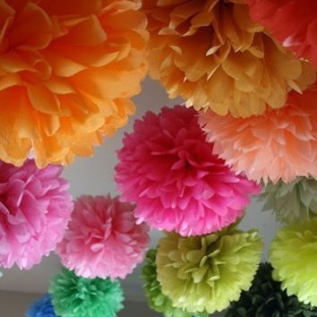 7 Tissue Poms Party Poms Weddings Decoration Pompom For Nursery Paper Decoration Party Decoration Poms Party Pompoms Tissue Paper Flower