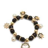 Wheel 'N Anchor Faux Pearl Bracelet