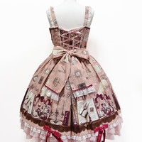 Victorian Letter Long Jumperskirt - Brown [142PJ9-2910-br] - $270.00 : Angelic Pretty USA