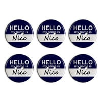 Nico Hello My Name Is Plastic Resin Button Set of 6