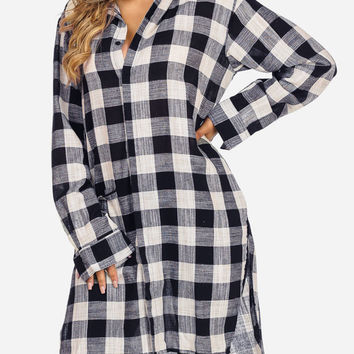 Navy and White Plaid Print Long Sleeve Button Up Side Slits Shirt in TOPS