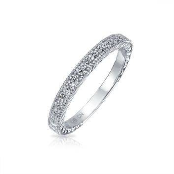 Pave AAA CZ Thin Wedding Band Ring Etched Milgrain 925 Sterling Silver