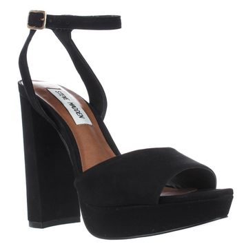 Steve Madden Brrit Platform Ankle Strap Sandals, Black, 7.5 US