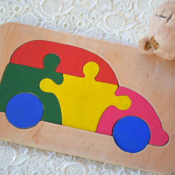 Waldorf Wooden puzzle Baby Toy Car Montessori Educational Toys wood transport puzzles Baby Shower Gift Organic learning game Baby boy Gift