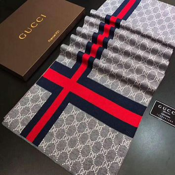 GUCCI Tide brand jacquard double G retro men and women models wild warm long scarf Grey