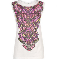 White and Pink Aztec Front Tank Top