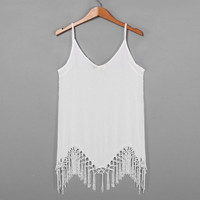 Party Dress Beach Dress Sexy Women Summer Dress Sleeveless Asymmetric Tassel White Fringe Dress Plus Size [4905485380]