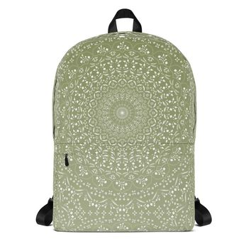 Mandala in Green Backpack