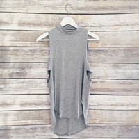 Grey Mockneck Tank Side Cut Outs