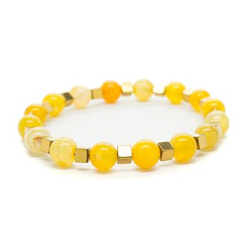 Yellow Agate Gemstones Beaded Bracelet for Men and Women