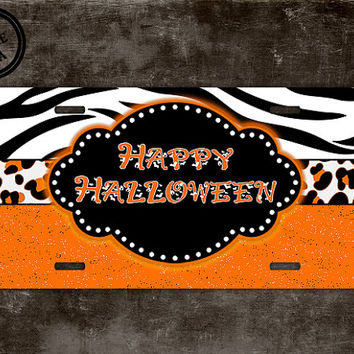 Halloween license plate - Seasonal decor for your car !  Tiger stripe and cheetah print in colors of the holiday orange and black (1018)