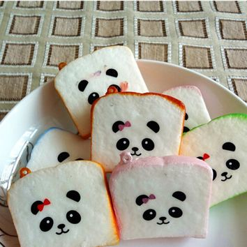 1Piece Squishy Bear Printed Key Chains Kawaii Sliced Squishy Bread Soft Toast Phone Straps Bag Parts New Arrival Accessories