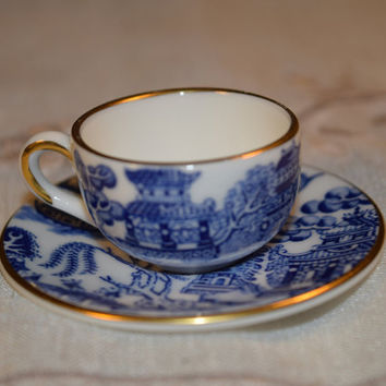 Coalport England Blue Willow Mini Cup and Saucer Vintage Miniature Blue White Cup & Saucer Willow Asian Decor Bone China Discontinued China