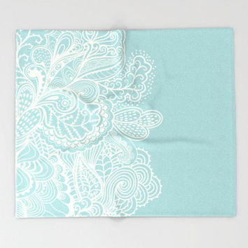 baby Teal Throw Blanket Light Blue Mehndi  Off White Design Baby Boy Girl Soft  Plush Fleece