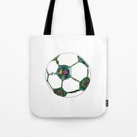 Floral Soccer Ball Tote Bag by DEPPO