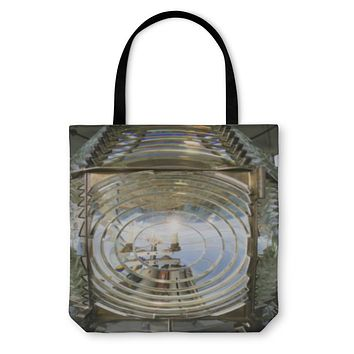 Tote Bag, Fresnel Magnifying Lens Close Up Lighthouse Glass Rotating Housing