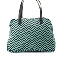 Chevron Print Fabric Weekender Bag by Charlotte Russe - Green