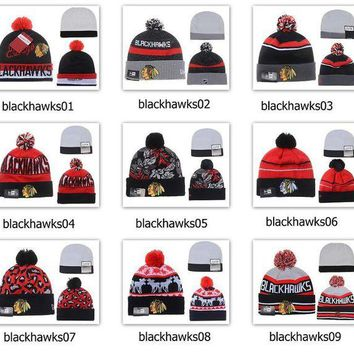 ONETOW Winter Wool Hats Blackhawks Beanies