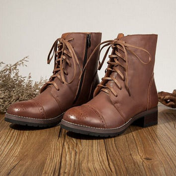2 Colors Women'S Handmade Leather Martin Boots,New Winter Boots /Leather Shoes / Geniune Leather Boots, Brown/Black Boots