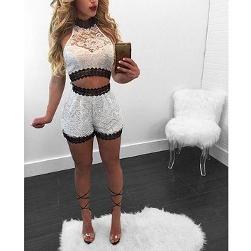 White Lace Crop Top And Shorts Set