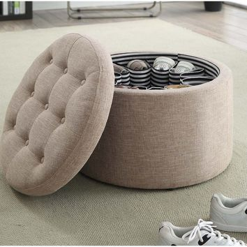 Convenience Concepts Designs4Comfort Round Shoe Ottoman - Ottomans at Hayneedle