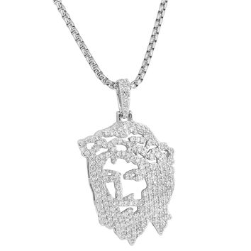 Custom 14k White Gold Plate Hip Hop Iced Out Simulated Diamond Ghost Jesus Piece