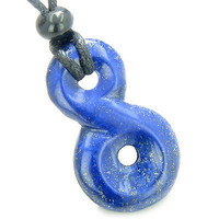 Lapis Lazuli Infinity Magic Powers Knot Lucky Charm Amulet Gemstone Pendant on A
