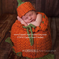 Chunky Crochet Little Pumpkin Cocoon and Beanie PATTERN