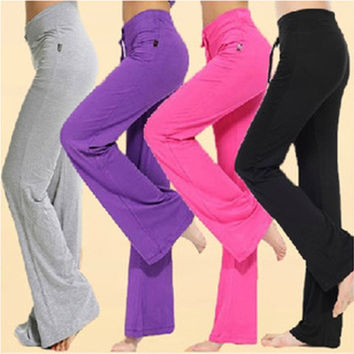 Womens Soft Comfort Cotton Spandex Yoga Sweat Lounge Gym Sports Athletic Pants = 1932946884