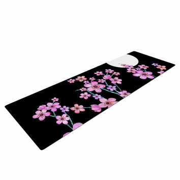 "Julia Grifol ""Cherry Blossom At Night"" Pink Black Yoga Mat"
